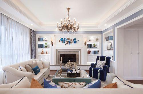 美式风格三居室客厅窗帘装修效果图欣赏
