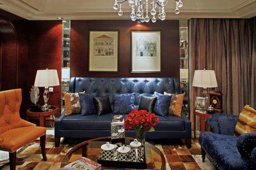 美式乡村风格四居室客厅吊顶装修效果图大全