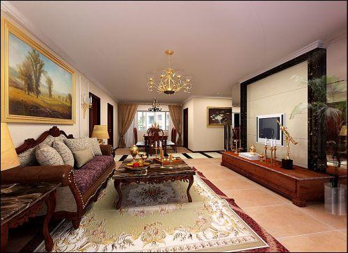 美式风格别墅客厅影视墙装修效果图欣赏