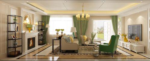 新美式四居室客厅窗帘装修效果图欣赏