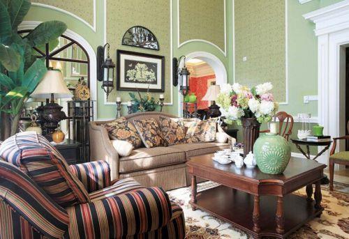 美式风格四居室客厅沙发装修效果图欣赏