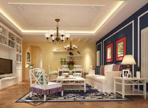 简约美式三居室客厅组合柜装修图片