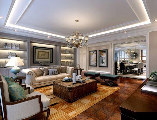 美式风格四居室客厅窗帘装修效果图欣赏