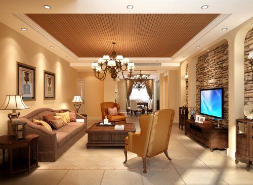 美式乡村三居室客厅背景墙装修效果图欣赏