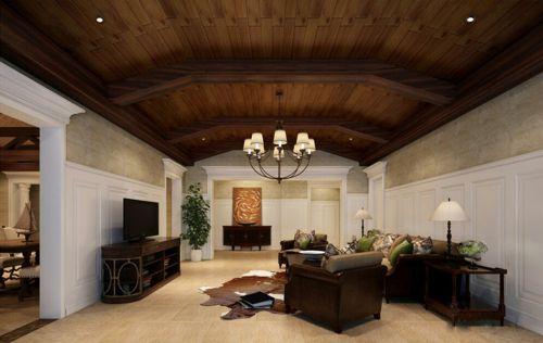 美式(现代+古典)四居室客厅吊顶装修效果图