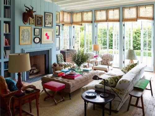 美式风格温暖彩色系自然感客厅实景图