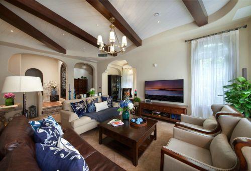素雅气质美式风格客厅装修实景图
