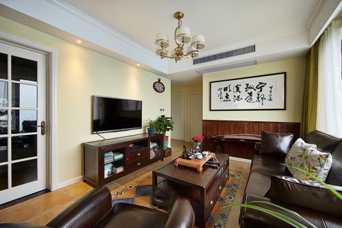美式风格时尚双色系客厅装修效果图