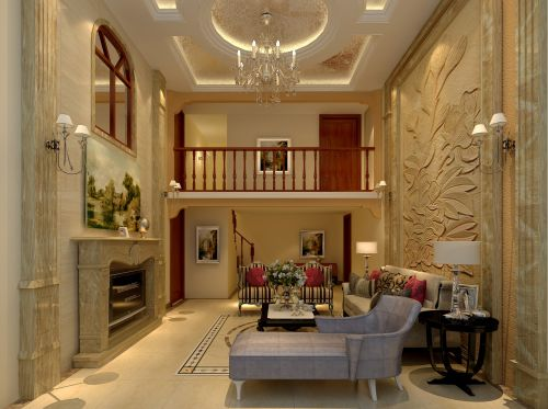 美式风格三居室客厅背景墙装修效果图欣赏