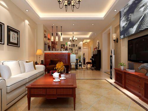 简约美式风格三居室客厅吊顶装修效果图欣赏