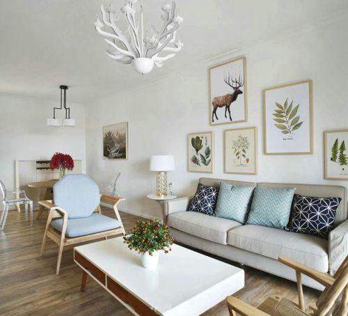 90平米美式风格客厅三居室装修样板间