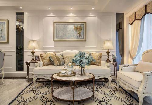 美式风格明亮高雅客厅设计效果图