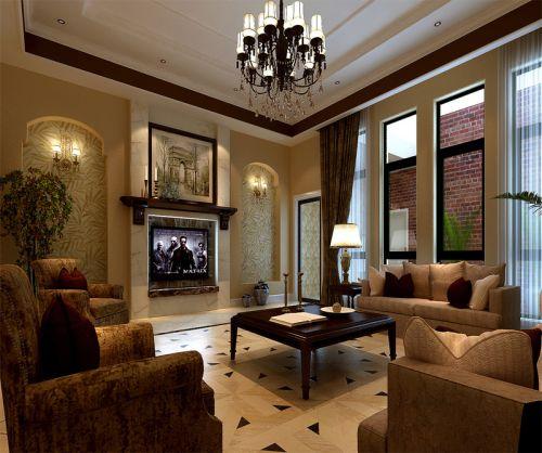 美式田园别墅客厅茶几装修效果图欣赏
