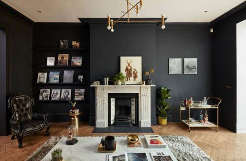 美式风格稳重黑色系客厅背景墙效果图