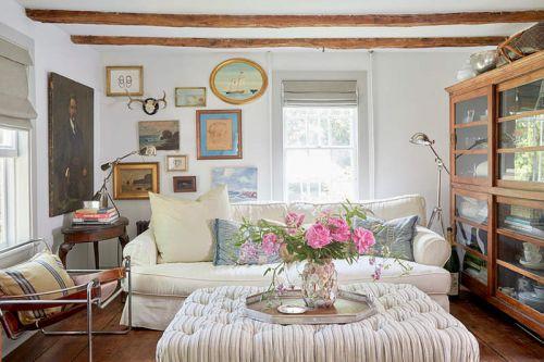 温馨雅致美式风格客厅布艺沙发实景图