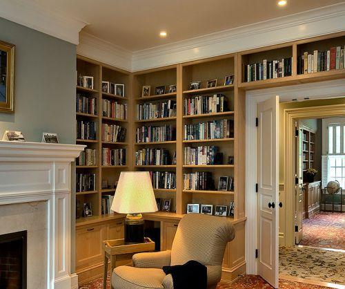 美式风格温馨客厅书柜设计效果图