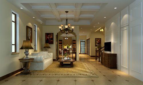 美式田园五居室客厅装修效果图