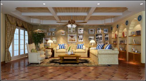 美式田园五居室客厅装修效果图大全