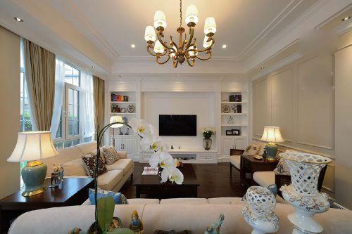 米色休闲沙发橱柜背景墙美式客厅装修效果图