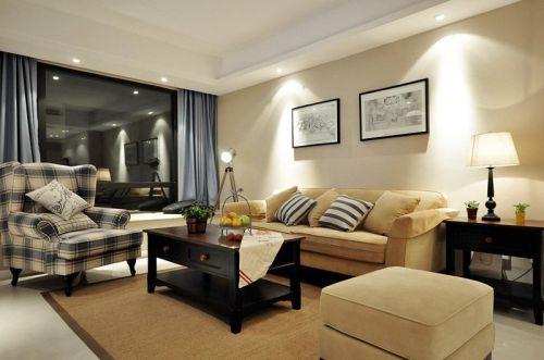 典雅美式风格客厅布艺沙发图片欣赏