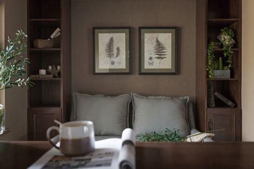 素洁干净美式风格客厅背景墙装修设计