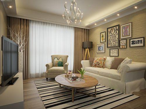 大气精致美式风格客厅背景墙装修效果图