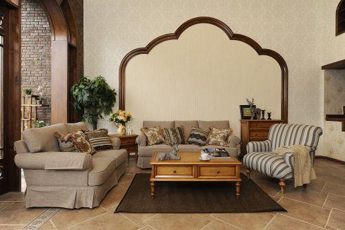 沉稳典雅美式风格客厅原木质感茶几图片