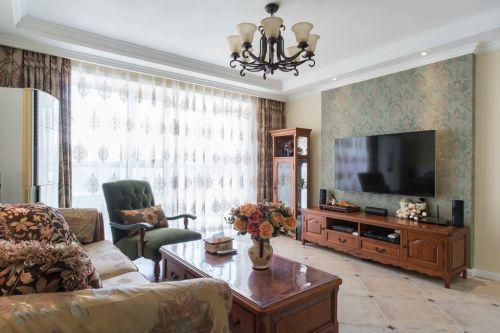 92平三居室复古美式风格客厅装修效果图