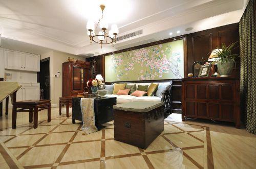 优雅美式风格清新客厅背景墙装修效果图