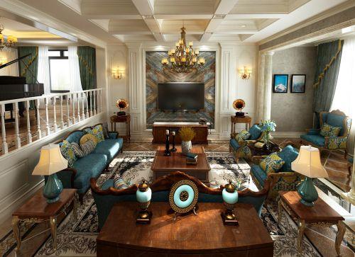 时尚豪华美式别墅客厅效果图