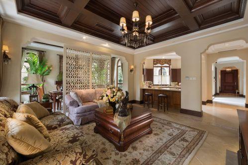 轻奢大气美式风格客厅咖啡色装修图片