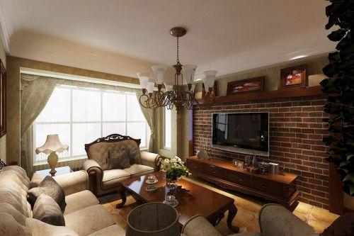 美式风格小平米客厅电视背景墙实景图