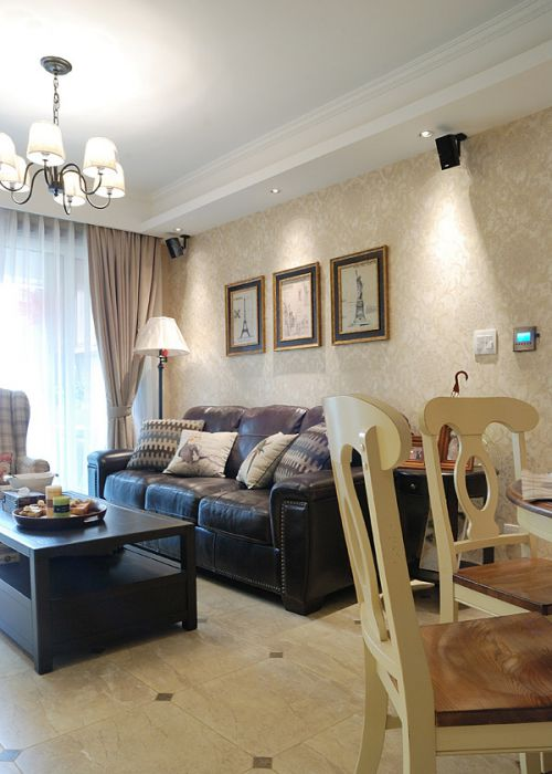 华丽美式风格客厅灯具装修效果图