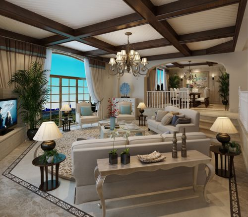 美式乡村风格三居室客厅装修效果图欣赏