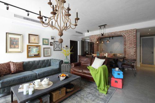 优雅美式风格客厅背景墙装修实景图