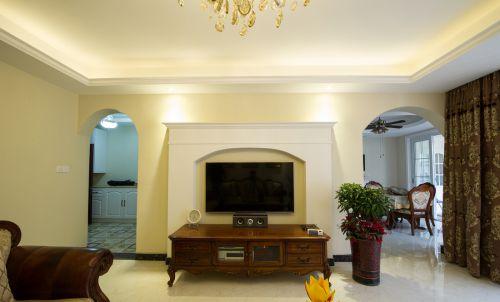 温馨美式风格客厅电视柜效果图