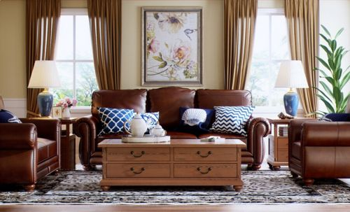 休闲浪漫美式奢华客厅装修效果图