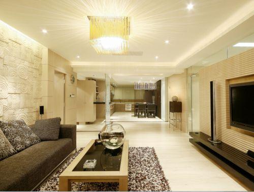 美式简约四居室客厅装修效果图大全