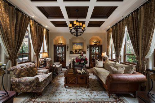 豪华精致美式风格客厅灯具装修图片