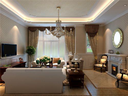 简约美式风格客厅小方格壁纸装修效果图