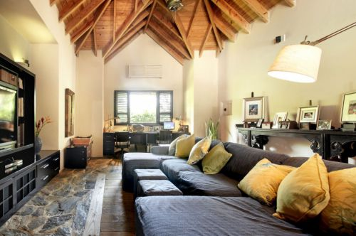 休闲美式风格客厅温暖布艺沙发实景图