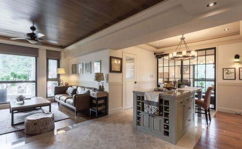 开放式美式风格客厅装修实景图