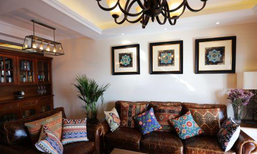 典雅美式风格客厅沙发装修实景图