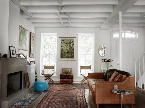 怀旧复古美式风格客厅咖啡色沙发装修图
