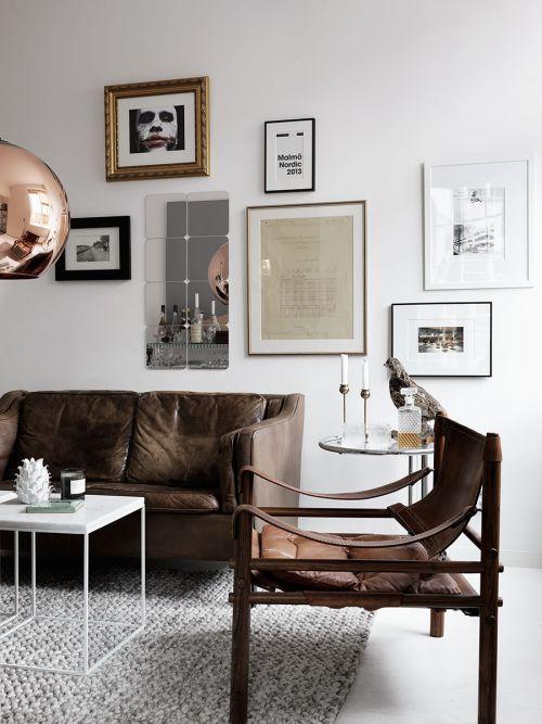 美式风格客厅大气咖啡色沙发装修图片