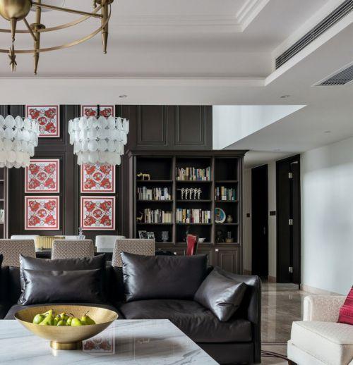 低调沉稳美式风格客厅皮质沙发装修图片