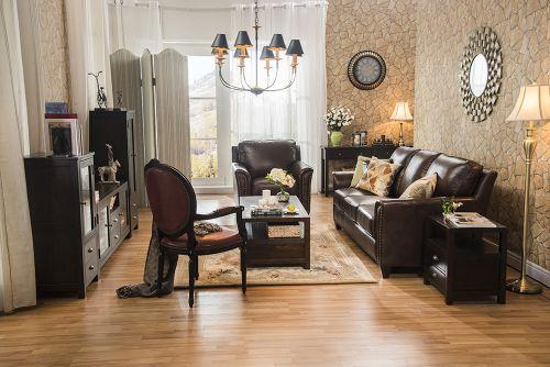 大气沉稳美式风格客厅真皮沙发装修图片