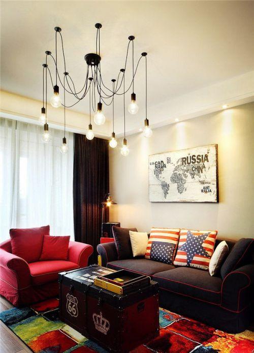 自在温馨美式风格客厅复古茶几装修图片