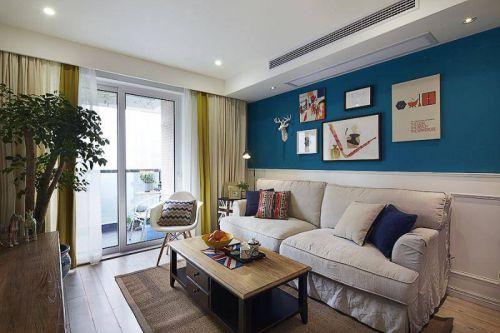 温暖大气美式风格客厅背景墙设计图片