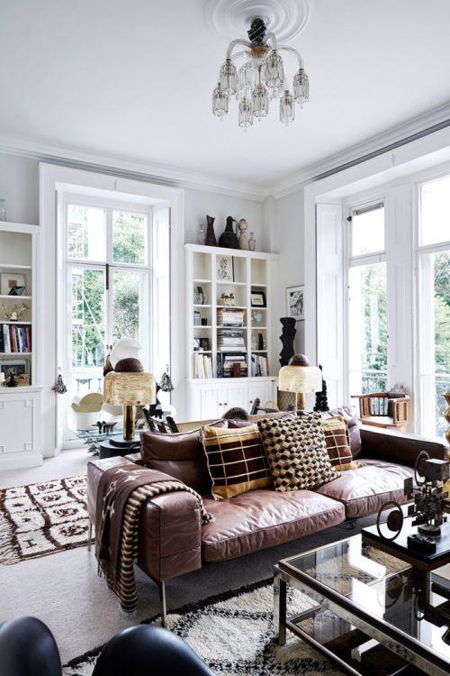 典雅大气美式风格客厅皮沙发装修图片